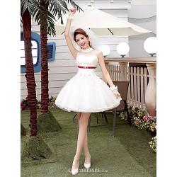 A Line Short Mini Wedding Dress High Neck Tulle