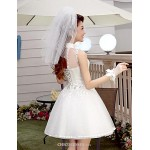 A-line Short/Mini Wedding Dress - High Neck Tulle Wedding Dresses