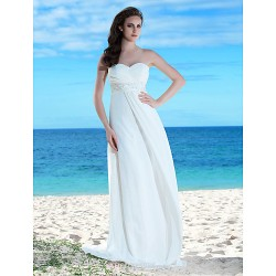 Sheath Column Plus Sizes Wedding Dress Ivory Floor Length Sweetheart Chiffon