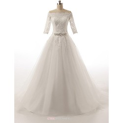 A-line Wedding Dress - White Court Train Off-the-shoulder Tulle