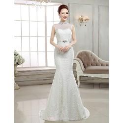 Trumpet Mermaid Sweep Brush Train Wedding Dress High Neck Lace