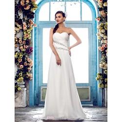 Sheath/Column Plus Sizes Wedding Dress - Ivory Sweep/Brush Train Sweetheart Chiffon