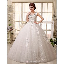 Ball Gown Wedding Dress Floor-length V-neck Lace