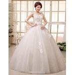 Ball Gown Wedding Dress Floor-length V-neck Lace Wedding Dresses