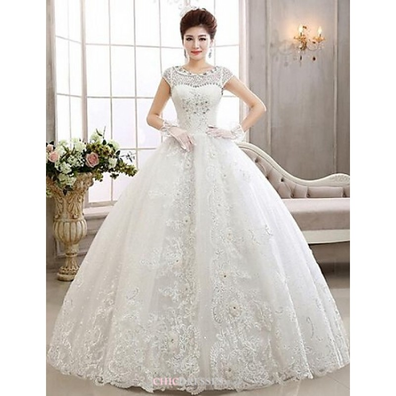 Ball gown ankle length wedding dress bateau lace cheap uk for Image of wedding dresses