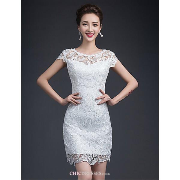 Sheath/Column Short/Mini Wedding Dress - Jewel Lace Wedding Dresses