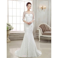 Trumpet Mermaid Sweep Brush Train Wedding Dress V Neck Lace