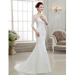 Trumpet/Mermaid Sweep/Brush Train Wedding Dress -V-neck Lace Wedding Dresses