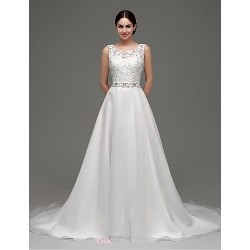 A Line Sweep Brush Train Wedding Dress Bateau Organza