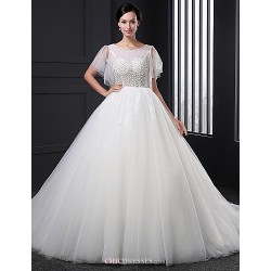 A-line Wedding Dress - Ivory Sweep/Brush Train Jewel Tulle