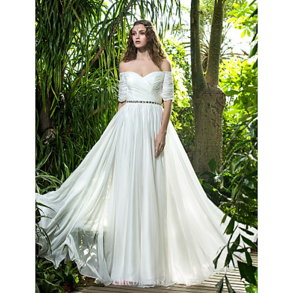 A-line Plus Sizes Wedding Dress - Ivory Floor-length Off-the-shoulder Chiffon Wedding Dresses