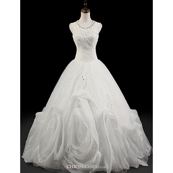 Ball Gown Wedding Dress - White Floor-length Jewel Organza Wedding Dresses