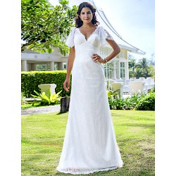 Sheath/Column Plus Sizes Wedding Dress - Ivory Sweep/Brush Train V-neck Lace