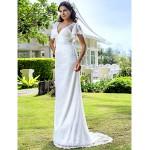 Sheath/Column Plus Sizes Wedding Dress - Ivory Sweep/Brush Train V-neck Lace Wedding Dresses