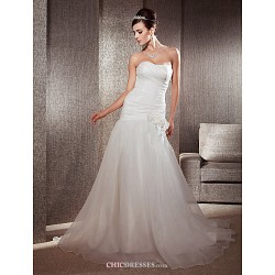 Fit & Flare Plus Sizes Wedding Dress - Ivory Chapel Train Sweetheart Organza