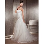 Fit & Flare Plus Sizes Wedding Dress - Ivory Chapel Train Sweetheart Organza Wedding Dresses