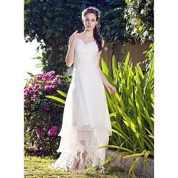 A-line/Princess Plus Sizes Wedding Dress - White Asymmetrical V-neck Organza