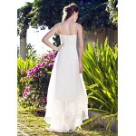 A-line/Princess Plus Sizes Wedding Dress - White Asymmetrical V-neck Organza Wedding Dresses