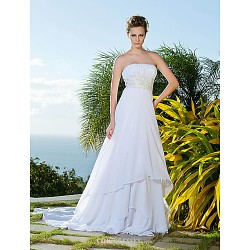 Empire Sheath Column Strapless Chiffon And Lace Wedding Dress