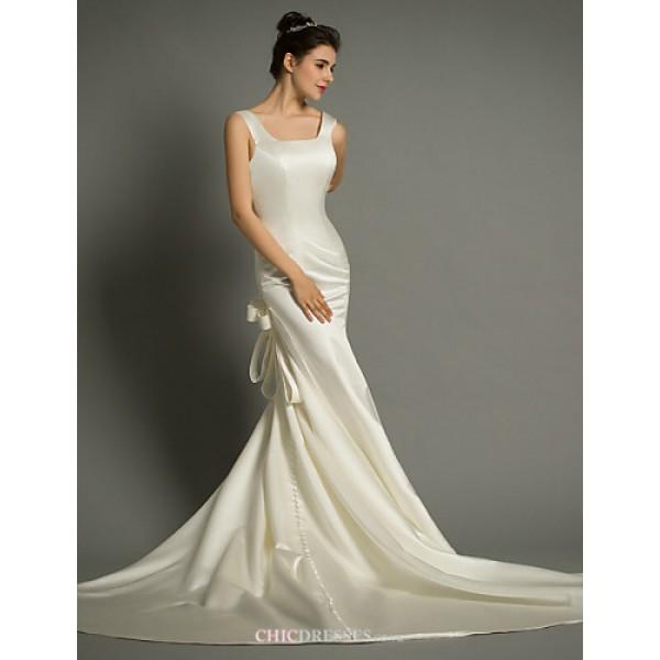 Trumpet/Mermaid Court Train Wedding Dress -Square Satin Wedding Dresses