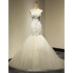 Trumpet/Mermaid Wedding Dress - White & Champagne (color may vary by monitor) Cathedral Train Sweetheart