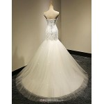 Trumpet/Mermaid Wedding Dress - White & Champagne (color may vary by monitor) Cathedral Train Sweetheart Wedding Dresses