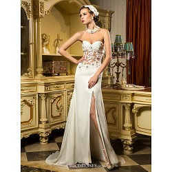 Sheath/Column Wedding Dress - Ivory Sweep/Brush Train Sweetheart Chiffon/Tulle