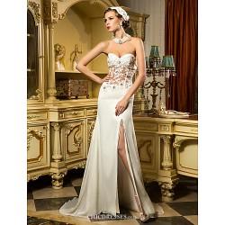 Sheath Column Wedding Dress Ivory Sweep Brush Train Sweetheart Chiffon Tulle