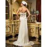 Sheath/Column Wedding Dress - Ivory Sweep/Brush Train Sweetheart Chiffon/Tulle Wedding Dresses