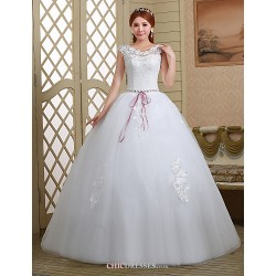 Ball Gown Wedding Dress White Floor Length Off The Shoulder Lace Tulle