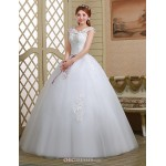 Ball Gown Wedding Dress - White Floor-length Off-the-shoulder Lace/Tulle Wedding Dresses