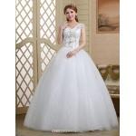Ball Gown Wedding Dress - White Floor-length V-neck Lace/Tulle Wedding Dresses