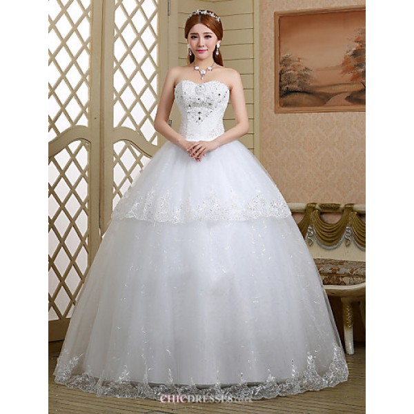 Ball Gown Wedding Dress - White Floor-length Sweetheart Lace/Tulle Wedding Dresses