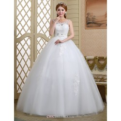 Ball Gown Wedding Dress - White Floor-length Scoop Lace/Tulle