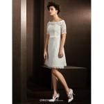 A-line/Princess Wedding Dress - Ivory Knee-length Bateau Lace Wedding Dresses