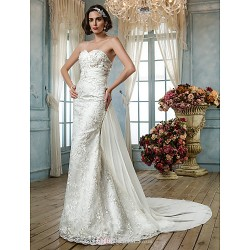 Trumpet Mermaid Plus Sizes Wedding Dress Ivory Sweep Brush Train Sweetheart Lace Sequined