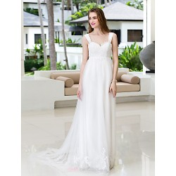 A Line Plus Sizes Wedding Dress Ivory Court Train Straps Chiffon Tulle