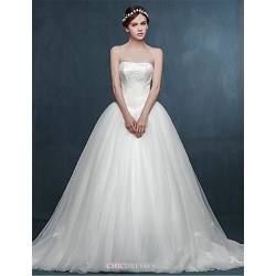 Ball Gown Wedding Dress - Ivory Court Train Sweetheart Tulle