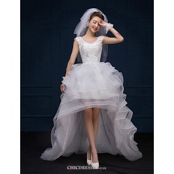 A Line Asymmetrical Wedding Dress V Neck Lace
