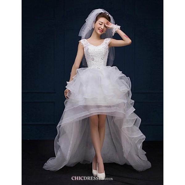 A-line Asymmetrical Wedding Dress - V-neck Lace Wedding Dresses