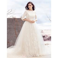 A Line Wedding Dress Ivory Sweep Brush Train Bateau Satin Tulle