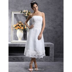 A-line/Princess Plus Sizes Wedding Dress - Ivory Tea-length Strapless Organza