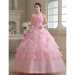 Ball Gown Princess Wedding Dress Blushing Pink Floor Length Strapless Organza