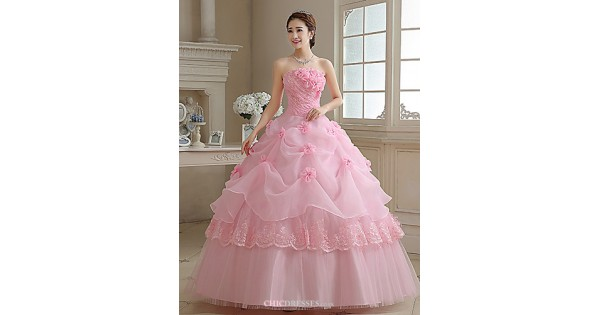 Simple Ball Gown Princess Strapless Plain Satin Tulle: Ball Gown / Princess Wedding Dress