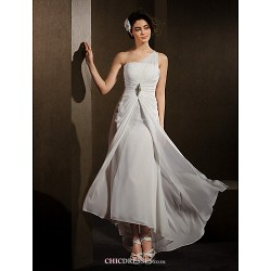 Sheath Column Wedding Dress Ivory Asymmetrical One Shoulder Chiffon