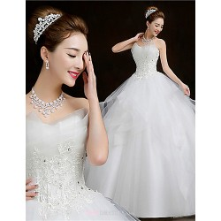 Ball Gown Floor Length Wedding Dress Scalloped Edge Tulle