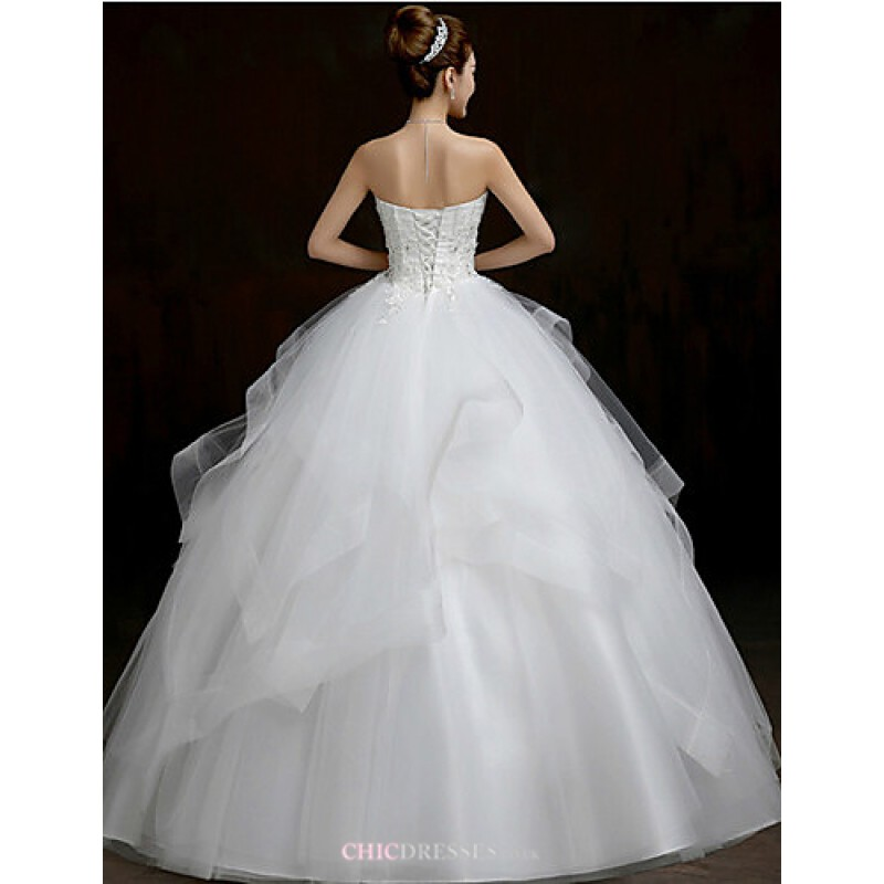 Ball Gown Wedding Dresses Uk: Ball Gown Floor-length Wedding Dress -Scalloped-Edge Tulle