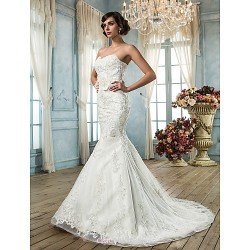 Trumpet/Mermaid Sweetheart Tulle Wedding Dress
