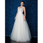 TS Couture Formal Evening Dress - Ivory Plus Sizes / Petite Ball Gown Jewel Floor-length Lace / Tulle Wedding Dresses