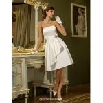 A-line Plus Sizes Wedding Dress - Ivory Knee-length Strapless Satin Wedding Dresses